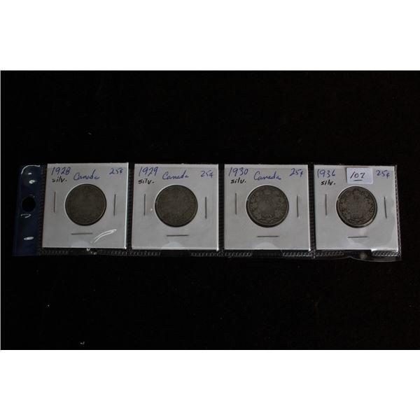 Canada Twenty-five Cent Coins (4) - 1928, 1929, 1930, 1936; Silver