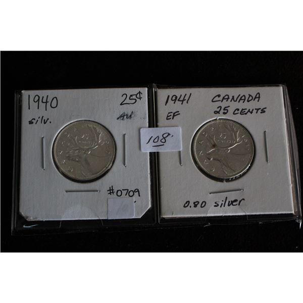 Canada Twenty-five Cent Coins (2) - 1940 AU, 1941 EF; Silver