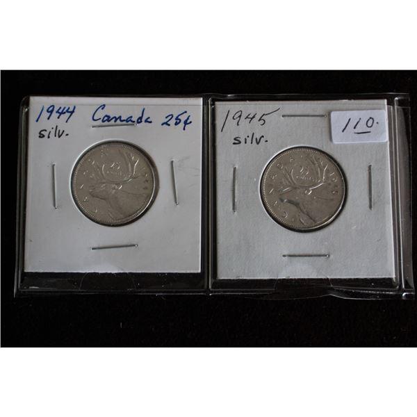Canada Twenty-five Cent Coins (2) - 1944, 1945; Silver