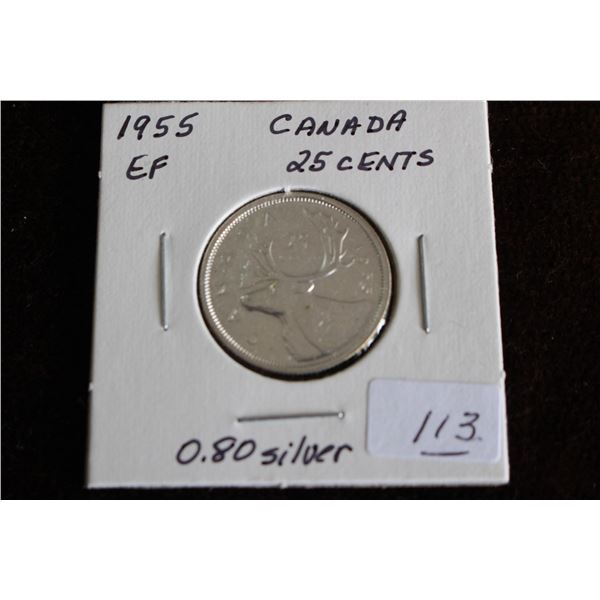 Canada Twenty-five Cent Coin - 1955, EF, Silver