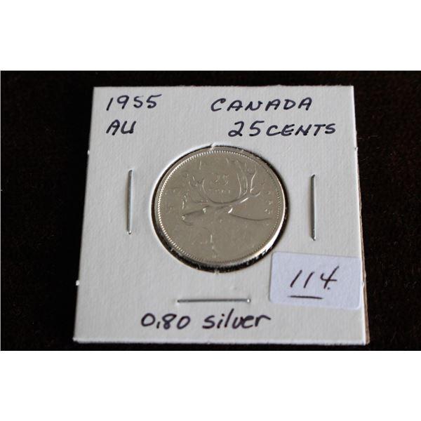 Canada Twenty-five Cent Coin - 1955, AU, Silver