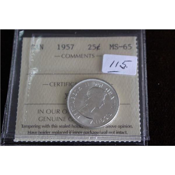 Canada Twenty-five Cent Coin - 1957, Silver; Graded MS65