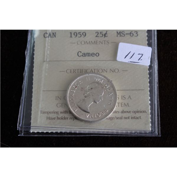 Canada Twenty-five Cent Coin - 1959, Silver; Graded MS63