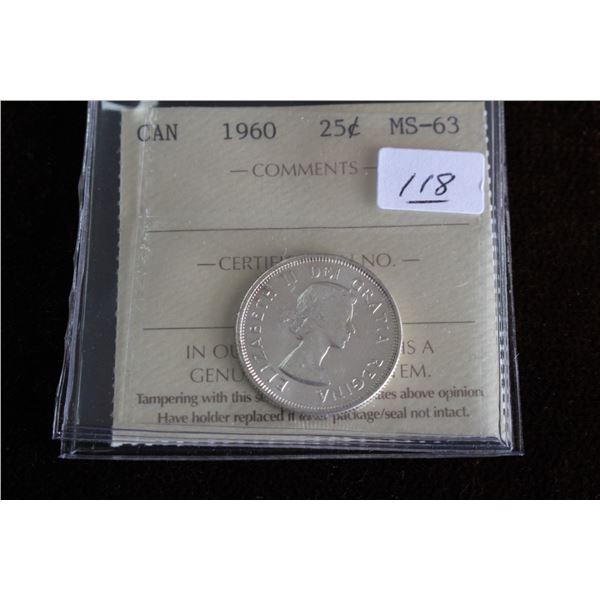 Canada Twenty-five Cent Coin - 1960, Silver; Graded MS63