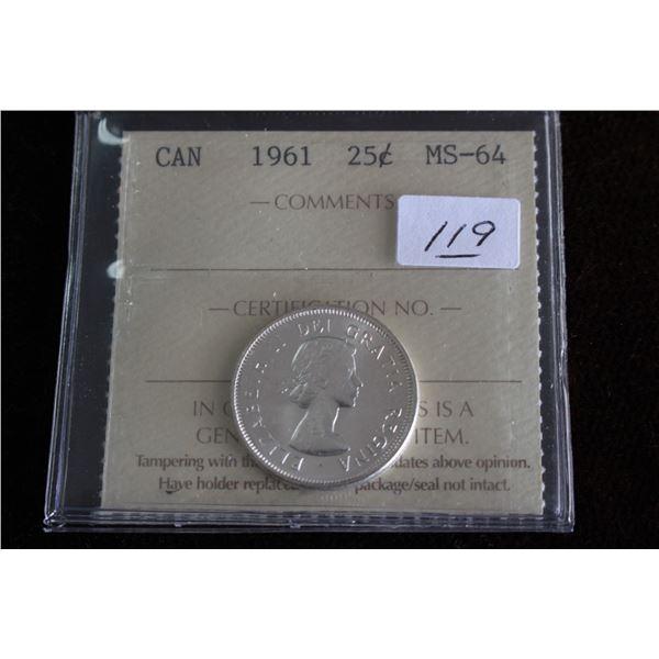 Canada Twenty-five Cent Coin - 1961, Silver; Graded MS64