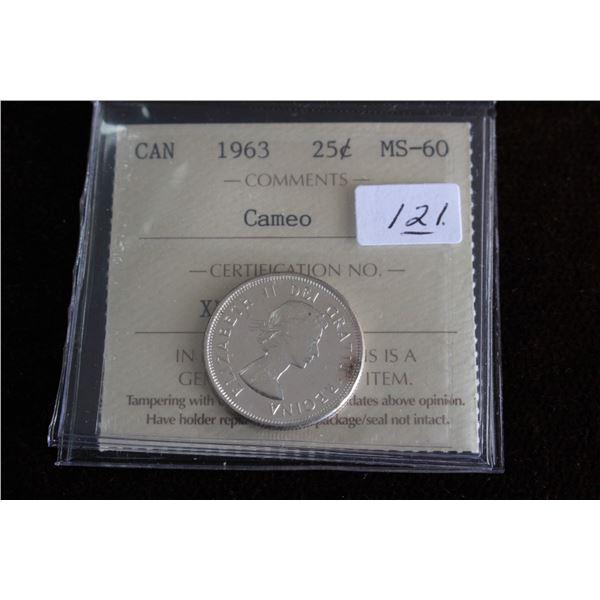Canada Twenty-five Cent Coin - 1963, Silver; Graded MS60