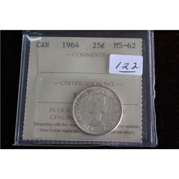 Canada Twenty-five Cent Coin - 1964, Silver; Graded MS62