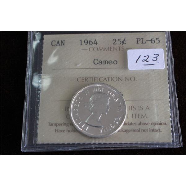 Canada Twenty-five Cent Coin - 1964, Silver; Graded PL65