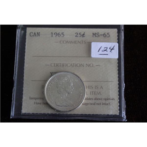 Canada Twenty-five Cent Coin - 1965, Silver; Graded MS65