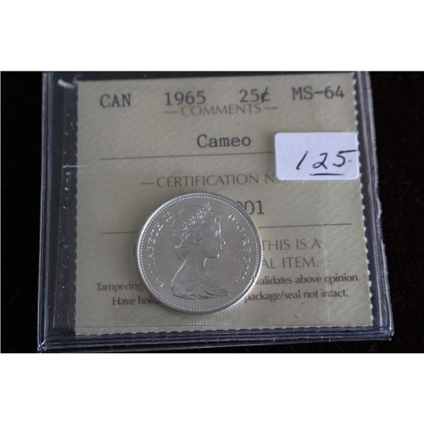 Canada Twenty-five Cent Coin - 1965, Silver; Graded MS64