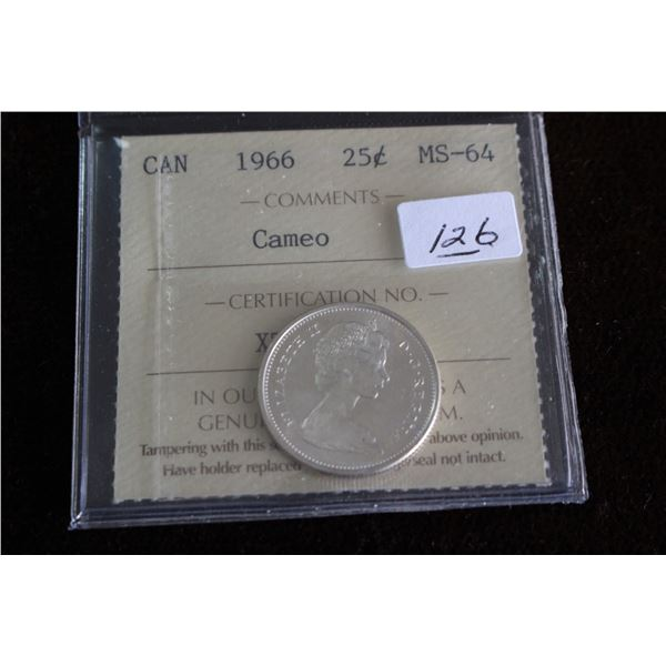 Canada Twenty-five Cent Coin - 1966, Silver; Graded MS64