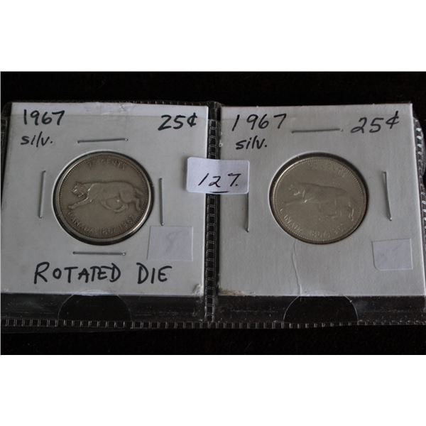 Canada Twenty-five Cent Coins (2) - 1967 Rotated Die & 1967 Regular; Silver