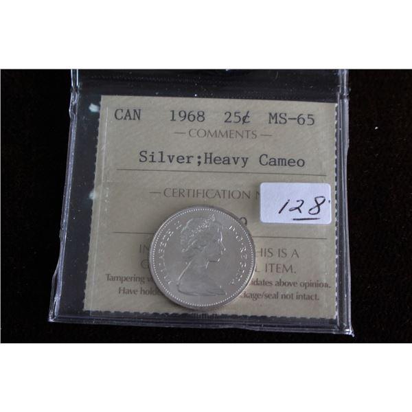 Canada Twenty-five Cent Coin - 1968, Silver; Graded MS65