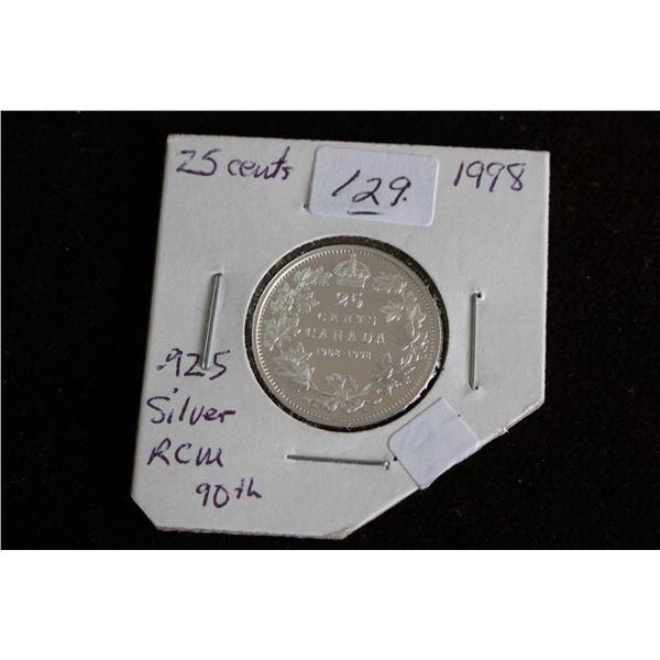 Canada Twenty-five Cent Coin - 1998; .925 Silver