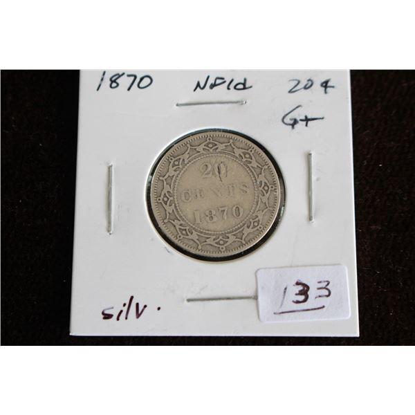Newfoundland Twenty Cent Coin - 1870, Silver