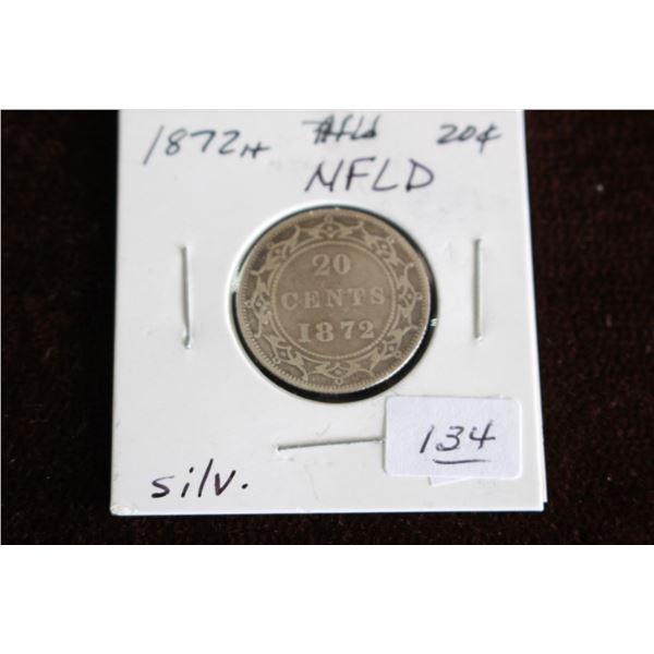 Newfoundland Twenty Cent Coin - 1872H, Silver