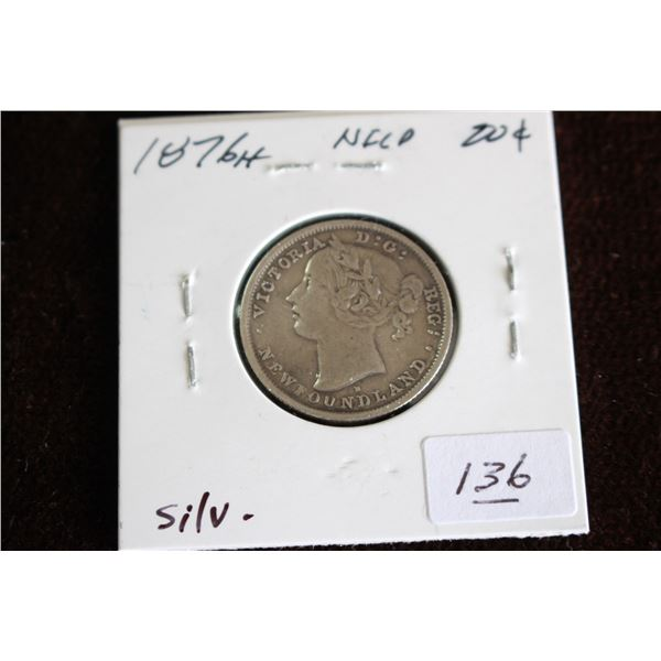 Newfoundland Twenty Cent Coin - 1876H, Silver