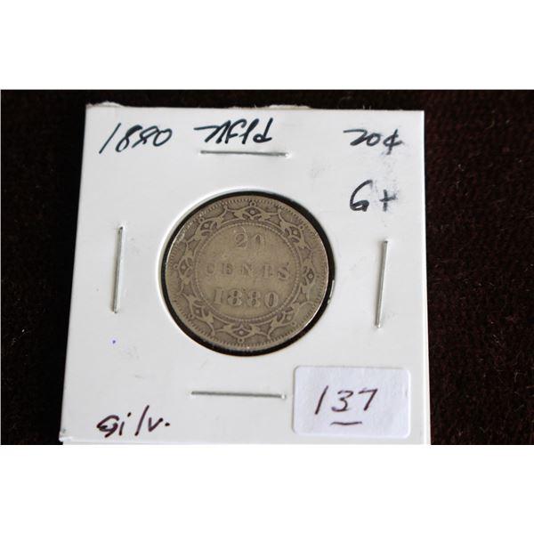 Newfoundland Twenty Cent Coin - 1880, G+, Silver