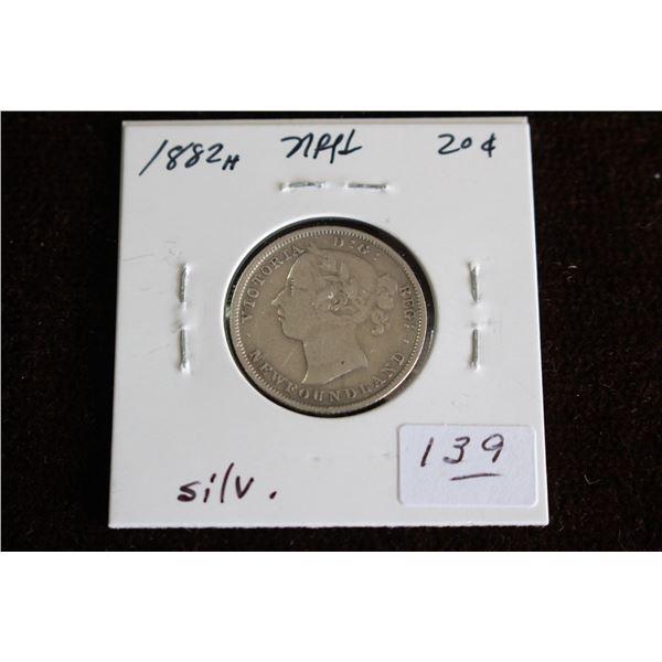 Newfoundland Twenty Cent Coin - 1882H, Silver
