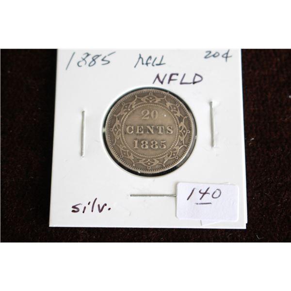 Newfoundland Twenty Cent Coin - 1885, Silver