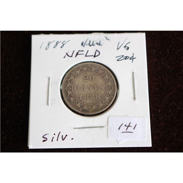 Newfoundland Twenty Cent Coin - 1888, VG, Silver