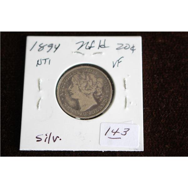 Newfoundland Twenty Cent Coin - 1894, VF, Silver