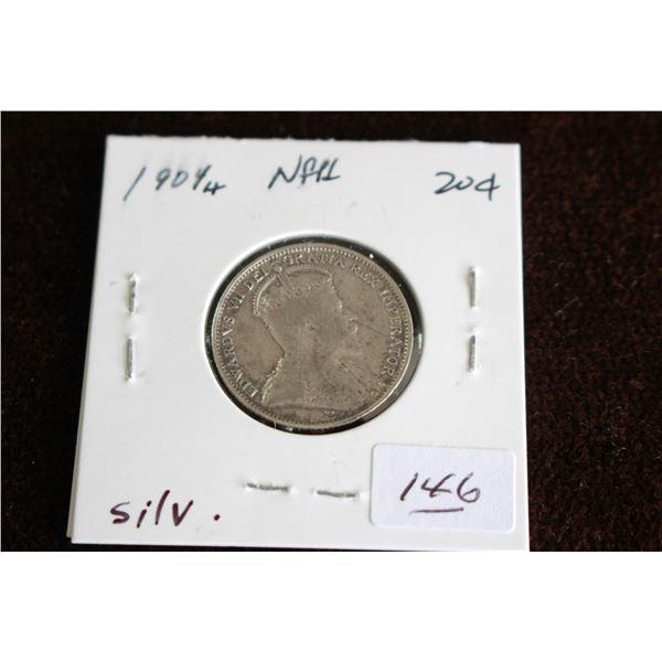 Newfoundland Twenty Cent Coin - 1904H, Silver