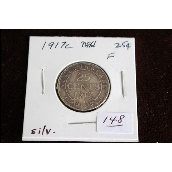 Newfoundland Twenty-five Cent Coin - 1917c, Silver
