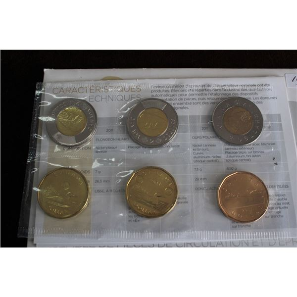 Canada Coin and Test Token Set - 2011 to 2012