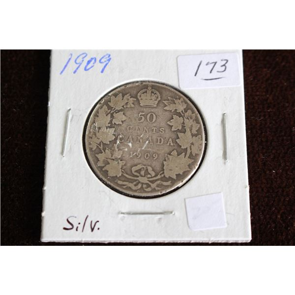 Canada Fifty Cent Coin - 1909, Silver