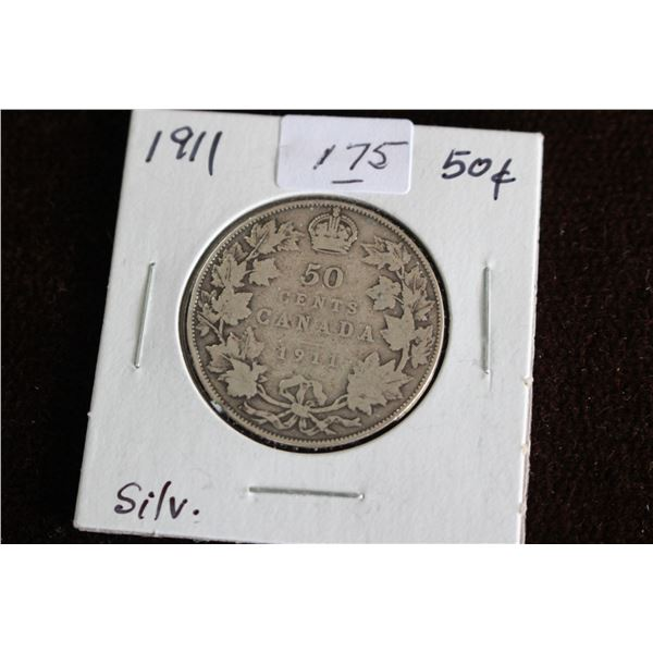Canada Fifty Cent Coin - 1911, Silver