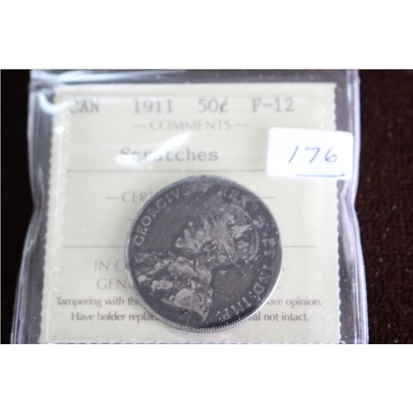 Canada Fifty Cent Coin - 1911, Silver; Graded F-12