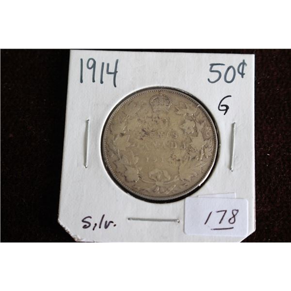 Canada Fifty Cent Coin - 1914, G, Silver