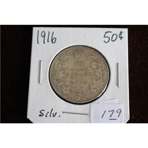 Canada Fifty Cent Coin - 1916, Silver