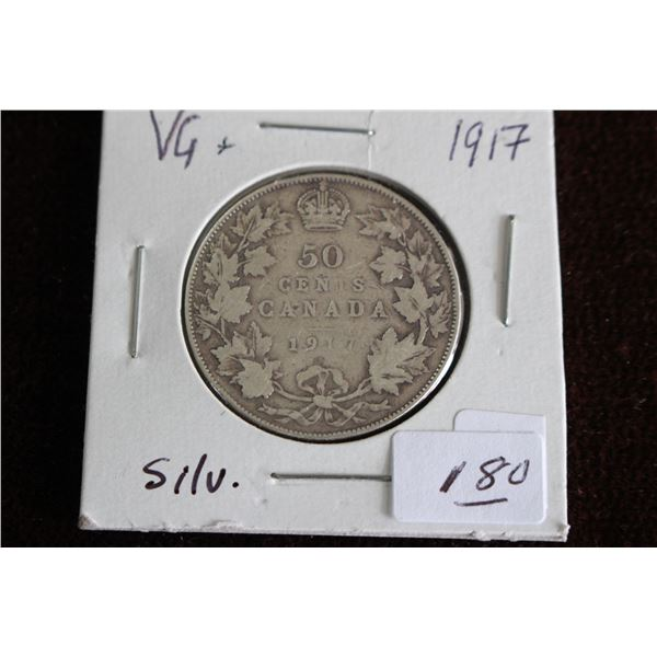 Canada Fifty Cent Coin - 1917, Silver