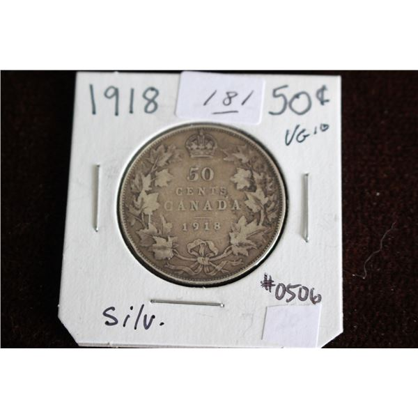 Canada Fifty Cent Coin - 1918, VG10, Silver