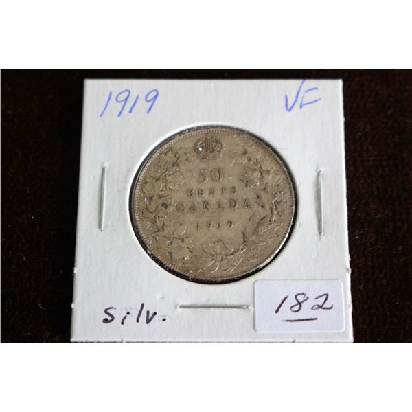 Canada Fifty Cent Coin - 1919, VF, Silver