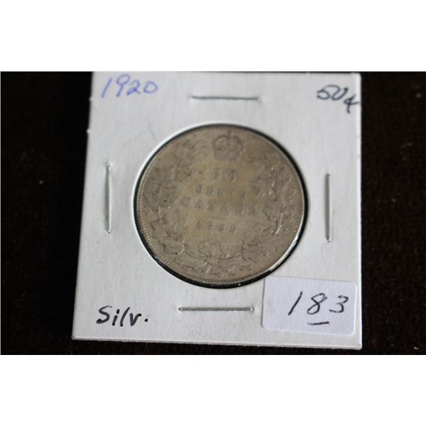Canada Fifty Cent Coin - 1920, Silver