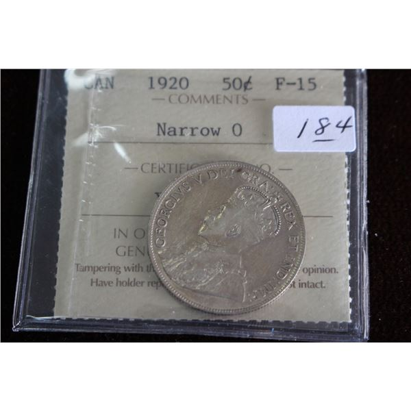 Canada Fifty Cent Coin - 1920, Silver; Graded F-15