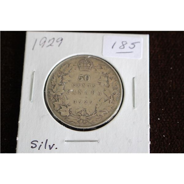 Canada Fifty Cent Coin - 1929, Silver
