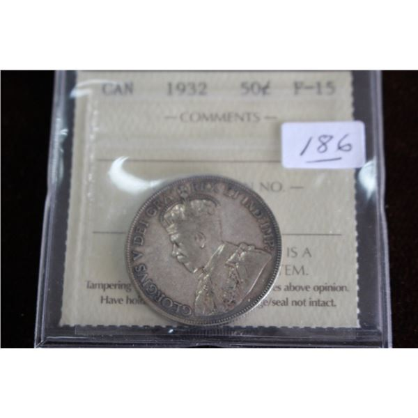 """Canada Fifty Cent Coin - 1932 """"Key Date"""" (only 19,213 minted); Silver, Graded F-15"""