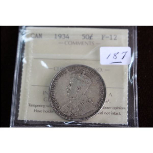 Canada Fifty Cent Coin - 1934, Silver; Graded F-12