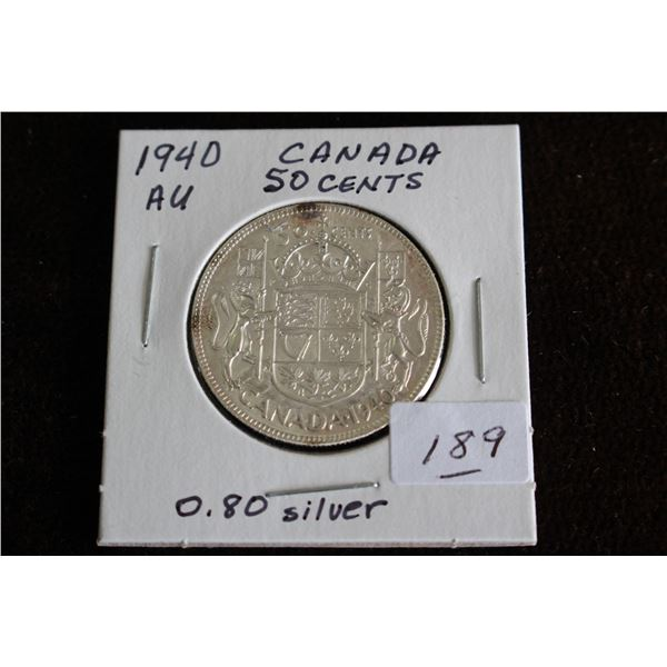Canada Fifty Cent Coin - 1940, AU, Silver