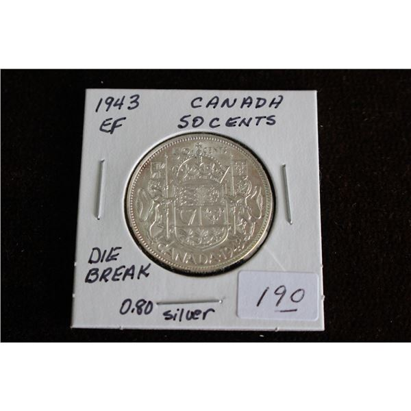 """Canada Fifty Cent Coin - 1943, EF, """"Die Break"""", Silver"""