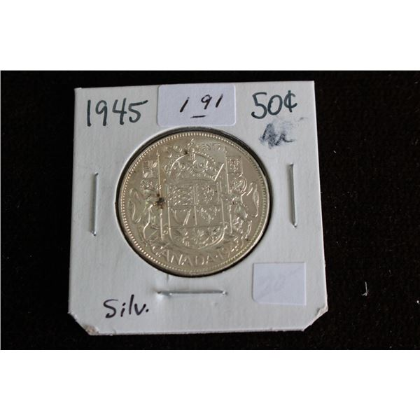 Canada Fifty Cent Coin - 1945, AU, Silver
