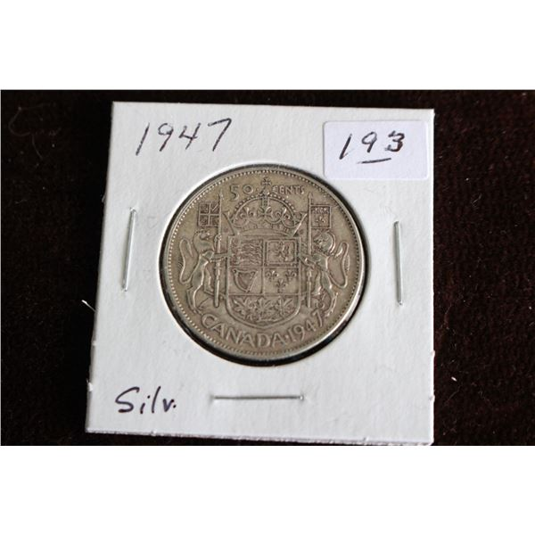 Canada Fifty Cent Coin - 1947, Silver