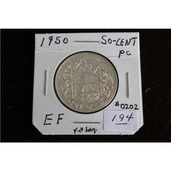 Canada Fifty Cent Coin - 1950, EF, Silver