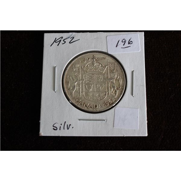 Canada Fifty Cent Coin - 1952, Silver