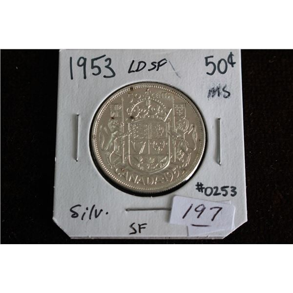Canada Fifty Cent Coin - 1953, LD, SF, MS, Silver