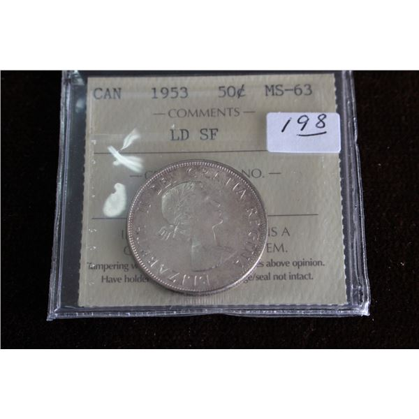 Canada Fifty Cent Coin - 1953, Silver; Graded MS63